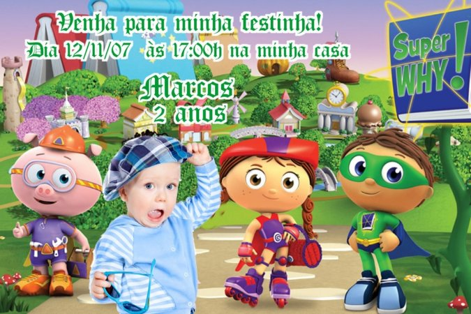 Convite digital personalizado Super Why com foto 003