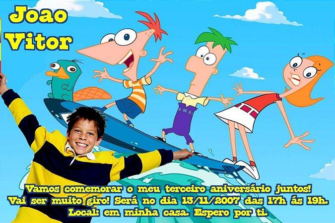 Convite digital personalizado Phineas and Ferb com foto 001