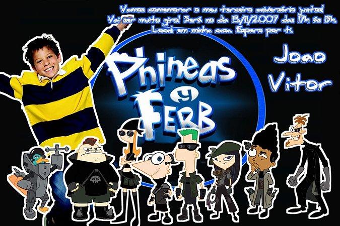 Convite digital personalizado Phineas and Ferb com foto 006