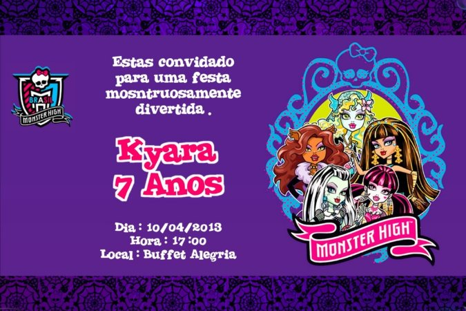 Convite digital personalizado Monster High 005