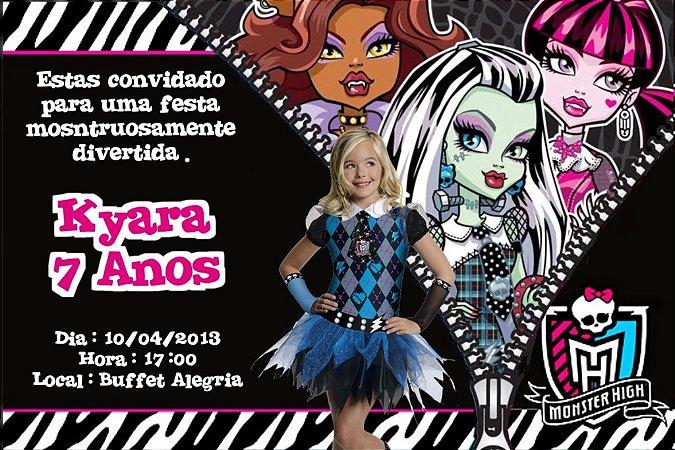 Convite digital personalizado Monster High com foto 002