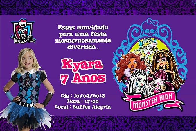 Convite digital personalizado Monster High com foto 005