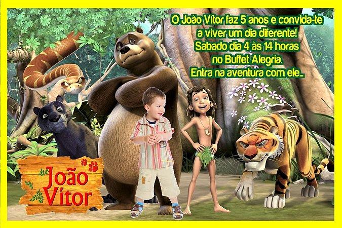 Convite digital personalizado Mogli, O Menino Lobo com foto 006