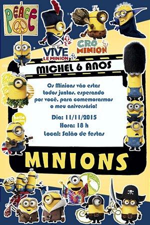 Convite digital personalizado Minions 008