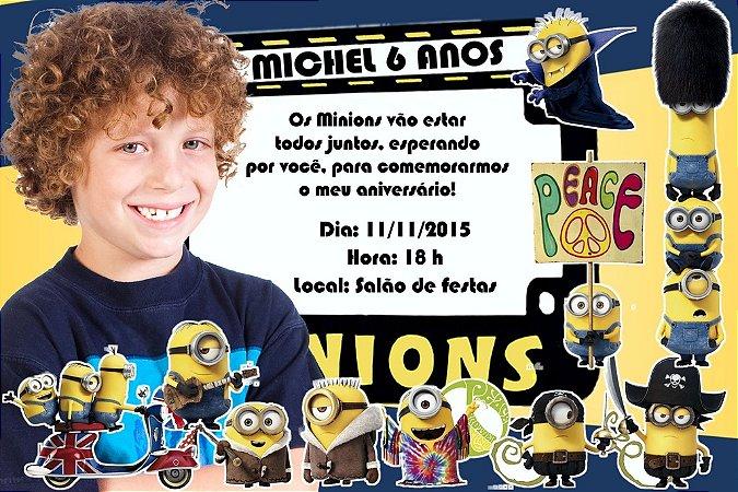 Convite digital personalizado Minions com foto 001
