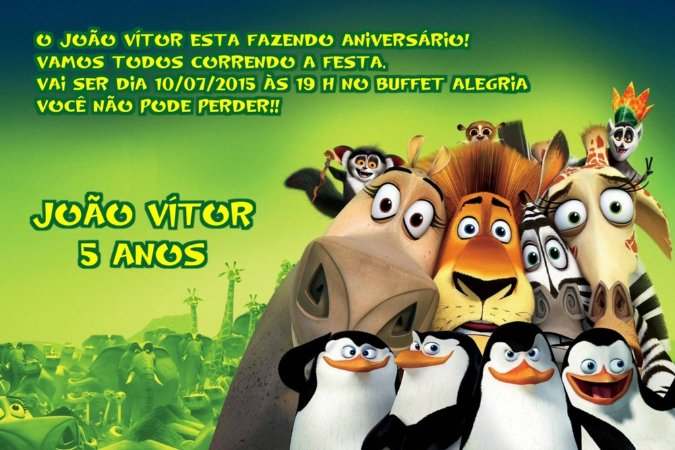 Convite digital personalizado Madagáscar 020
