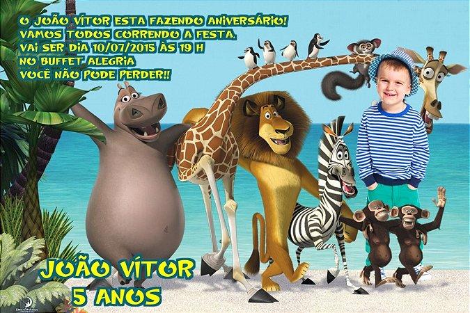 Convite digital personalizado Madagáscar com foto 002