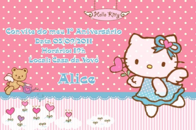 Convite digital personalizado Hello Kitty 012