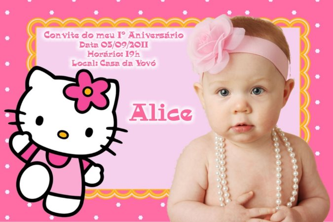 Convite digital personalizado Hello Kitty com foto 011