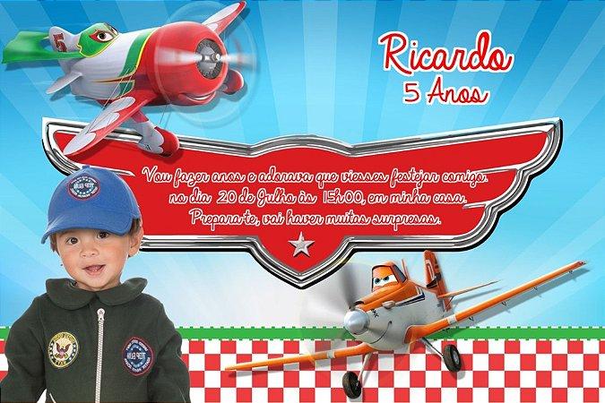 Convite digital personalizado Aviões da Disney com foto 002