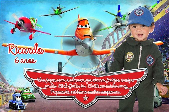 Convite digital personalizado Aviões da Disney com foto 004