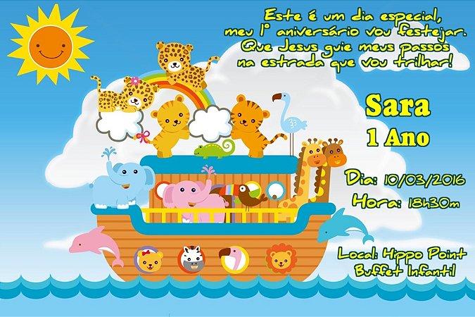 Convite digital personalizado Arca de Noé 001
