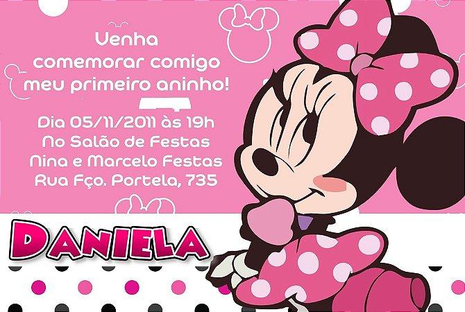 Convite digital personalizado Minnie Rosa 008
