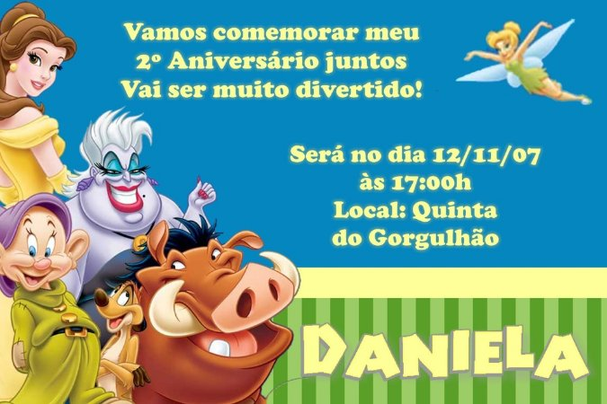Convite digital personalizado da Disney 001