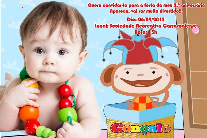 Convite digital personalizado Baby TV 023 com foto