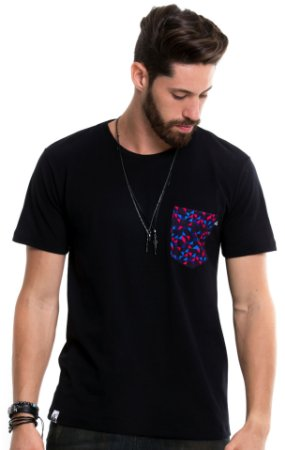 Camiseta de algodão - Geometric Pocket