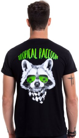 Camiseta de algodão - Tropical Raccoon