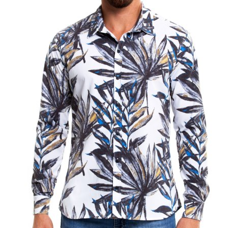 Camisa Estampada Masculina Manga Longa Floral Plants