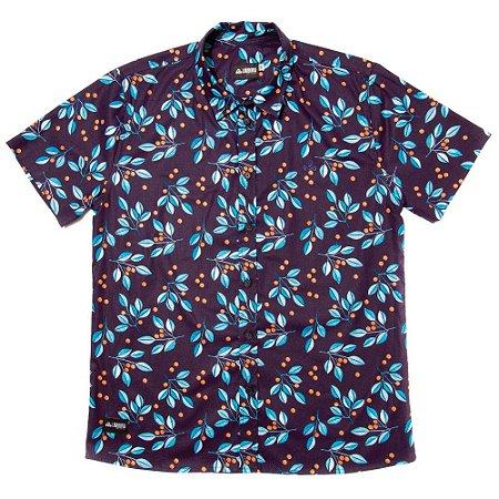 Camisa Estampada Tricoline - Blueberry