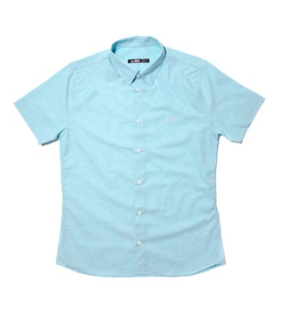 Camisa Masculina Manga Curta Botonê Azul
