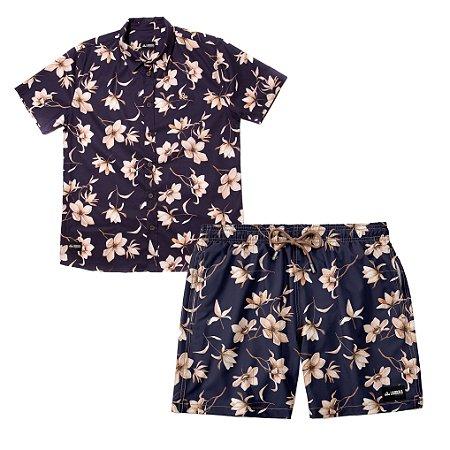 Conjunto Estampado Camisa & Shorts - Sapphire