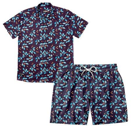 Conjunto Estampado Camisa & Shorts - Blueberry