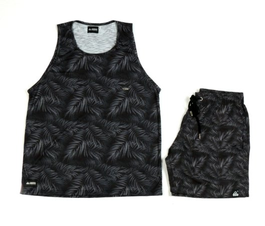 Conjunto Estampado Regata & Shorts - Black Tropical
