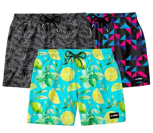 """Kit 3 Shorts """"Os Descolados"""" - Caipirinha, Black Tropical e Geometric Dance"""