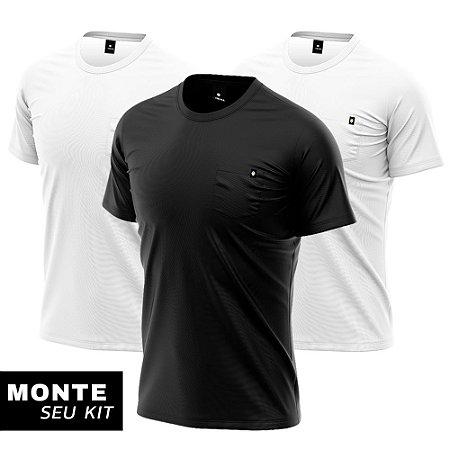 Kit 3 Camisetas Básicas Algodão Premium 30.1 - Bolsos Lisos
