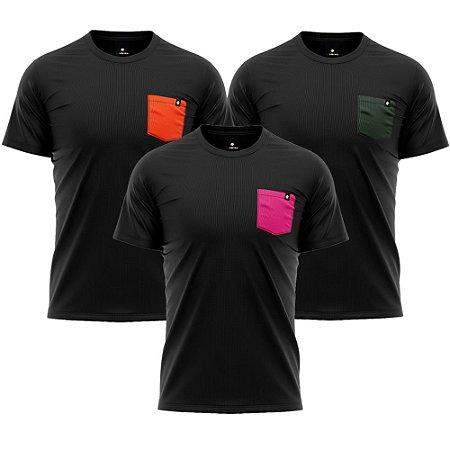 Kit 3 Camisetas Básicas LaVíbora Algodão Premium 30.1 - Bolsos Coloridos