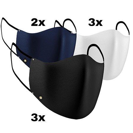 Pacote com 8 máscaras de Tecido Dupla Camada 100% Algodão LaVíbora - 3 Brancas e 3 Pretas + 2 Cor adicional