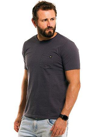 Camiseta Básica Masculina Bolso Liso 100% Algodão - Cinza