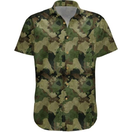 Camisa Masculina Estampada Manga Curta Viscose - Camuflada
