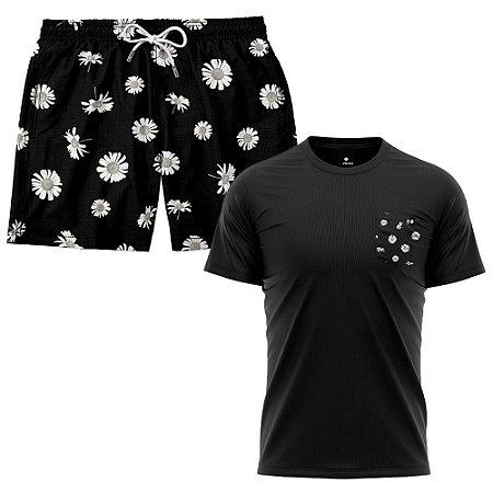 Kit Shorts Praia E Camiseta Bolso Estampado LaVibora - Daisy