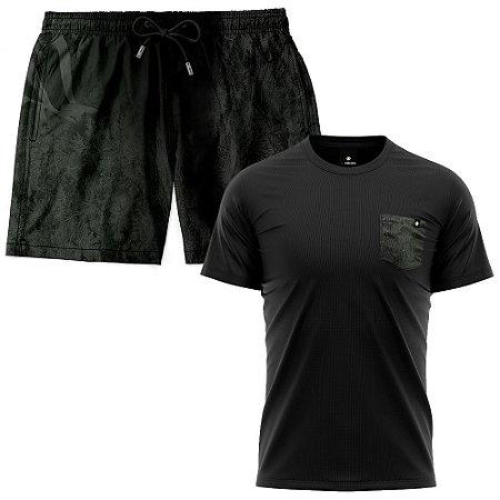 Kit Shorts Praia E Camiseta Bolso Estampado LaVibora - Dark
