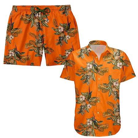 Kit Shorts Praia E Camisa Manga Curta Viscose LaVibora - Abacaxi Tropical