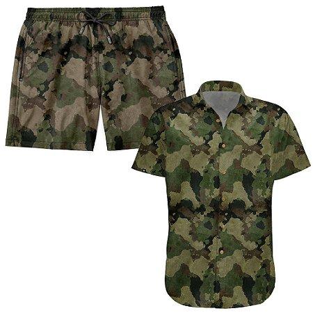 Kit Shorts Praia E Camisa Manga Curta Viscose LaVibora - Camuflado