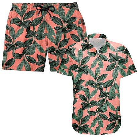 Kit Shorts Praia E Camisa Manga Curta Viscose LaVibora - Playa