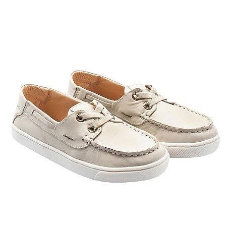 Mocassim infantil Sheep Shoes by Gambo Off White Cadarço elástico Kids