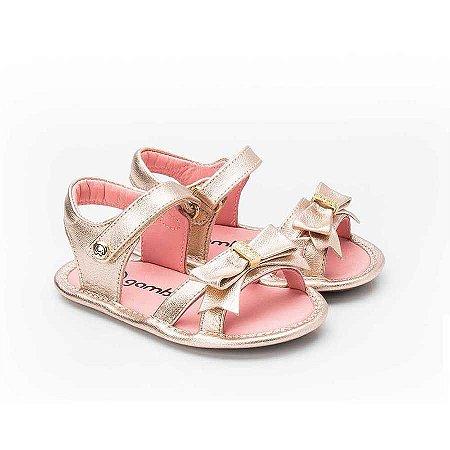 Sandália Infantil Sheep Shoes by Gambo Cristal Rosê Laço