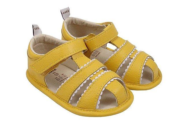 Sandália Infantil Catz Benny Amarelo e Branco