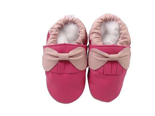 Pantufa Infantil Catz Nicky Franja Laço Pink e Rosa