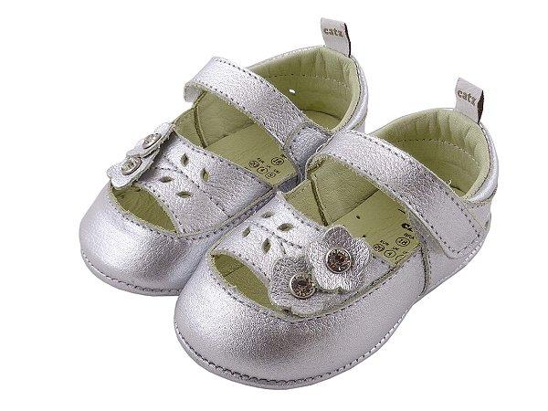 Sapatilha Infantil Catz Moly Flores Prata