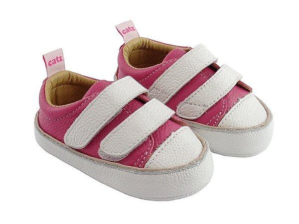 Tênis Infantil Catz Noddy Velcro Pink e Branco