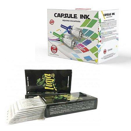 Caixa de Agulha Naja + Biqueira Capsule Ink para Traço