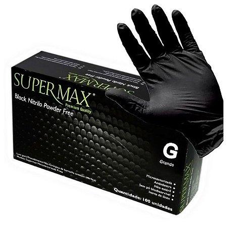 Caixa de Luva SuperMax Nitrílica Preta - Tamanho G