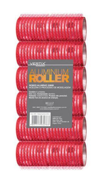 VERTIX Aluminium Roller Bob de Alumínio com Velcro 20mm Rosa 6un (3078)