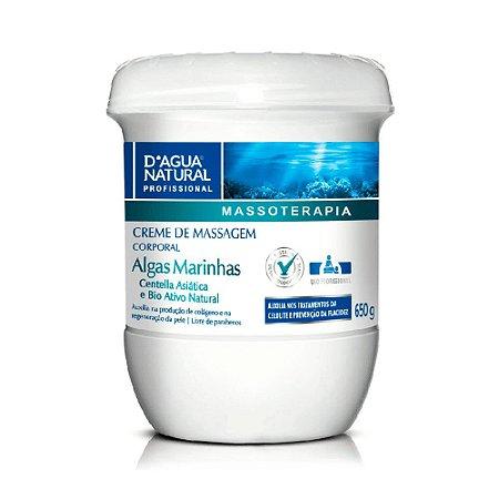 D'Água Natural Massoterapia Creme de Massagem Corporal Algas Marinhas Centelha Asiática e Bio Ativo Natural 650g