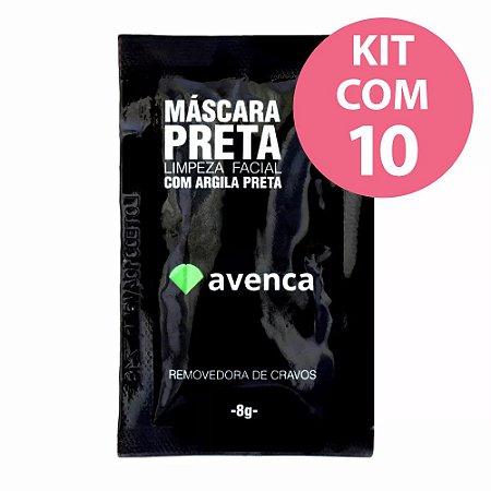 Avenca Máscara Preta Removedora de Cravos Kit com 10 com Argila Preta - 8g