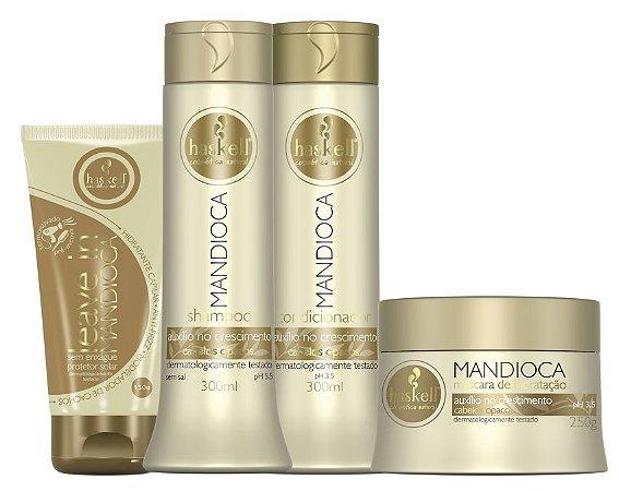 Haskell Mandioca Shampoo+Condicionador 300ml + Leave-in 150g + Máscara 250g